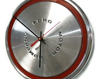 1970 - 1973 Ford Mustang Wall Clock - Torino Maverick Hubcap - 1971 1972 Hub Cap - Husband Gift - Red Dorm Decor
