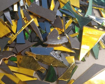 Silvercoats Scrap Glass-1/2 lb lot-1 Lb Lot-Mixed Silvercoats Glass-Scrap Glass-Glass Scrap-Mosaic Glass