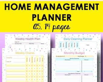 Home Organization Printables, Home Binder, Household Management Planner Printable, Household Planner, A5 Binder Printables, Instant Download