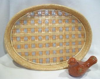 Oval Rattan Serving Tray Bamboo Tray Vintage Wicker Tray Rattan Tray Woven Trays Tiki Bar Serving Trays Hawaiian Decor