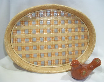 Oval Rattan Serving Tray Bamboo Tray Vintage Wicker Tray Rattan Tray Woven  Trays Tiki Bar Serving