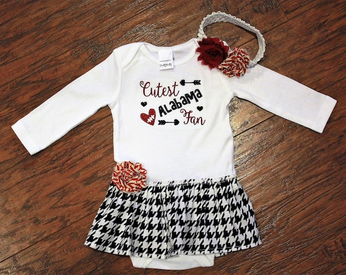 Featured listing image: Alabama, Crimson Tide, Roll Tide, baby shower gift, baby girl gift, baby girl clothes, bodysuit, football, crimson, white, cream, baby dress