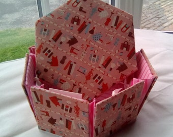 Pink Dressmaker Style Hexagonal Etui Sewing Box
