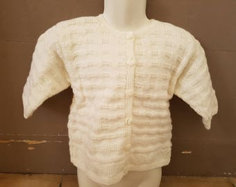 Hand knitted white Cardigan for girl 2 years.
