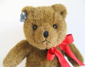 Vintage Teddy Bear named Jeffrey by Applause Bravo stuffed animal 1980s Toys Red Ribbon Classic Teddy Bear 1988