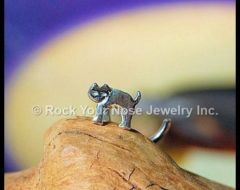 Cat Nose Stud / Kitten Nose Ring / El Gato Nose Stud / Animal Nose Jewelry / Halloween Nose Ring in Sterling Silver CUSTOMIZE