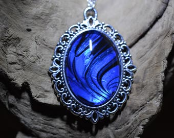 Black and Blue UV GLOW hand marbled pendant necklace