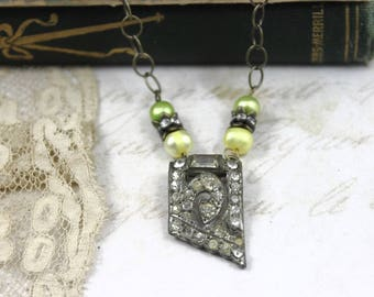 Vintage Assemblage Art Deco Necklace, Art Deco Pearl Necklace, Art Deco Bridal Necklace, Yellow and Lime Pearl Assemblage Necklace