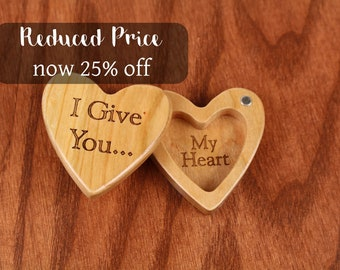 DISCONTINUED - REDUCED PRICE Heart Shaped Box, I Give You My Heart, Engagement, Slender 2-1/4