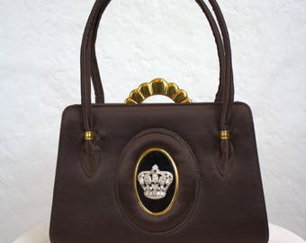"""1949 """"Evans"""" Brown Carryall Purse with Rhinestone Crown and Accessories"""