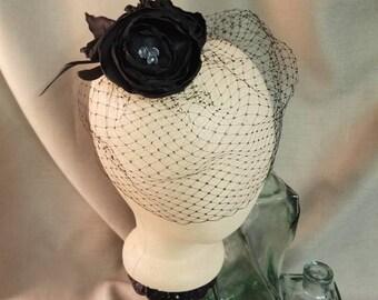 Black Rose Fascinator with Veil