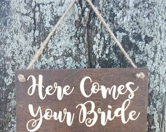 Custom Ring Bearer Signs/Ring bearer Sign/Flower Girl Sign/Here Comes Your Bride/Wedding Ceremony Entrance/Rustic Country Wedding Sign