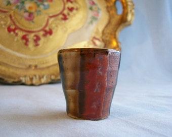 Vintage Saki Pottery Japan  Shot Glass Pottery Barware Saki Cup