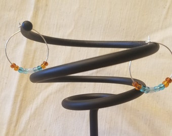 Turquoise Inspired Beaded Wire Hoops