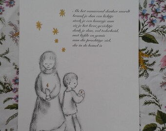 Comfort poster on A4. Map created on the occasion of All Souls, Wereldlichtjesdag, death and mourning.