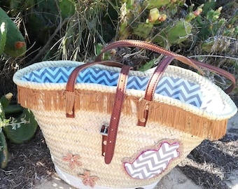 Natural basket, Beach bag, straw bag, long handle straw basket, carrycot, Market Bags, Ceira, Shopping Bag, handbags, Bags & Purses, Basket