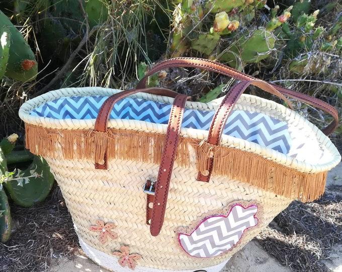 Natural basket, Beach bag, straw bag, long handle straw basket, carrycot, Market Bags, Ceira, Shopping Bag, handbags, Bags & Purses, Basket