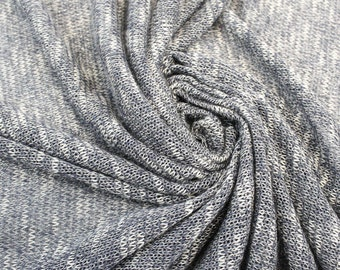 Blue Brown Stretch Sweater Knit Fabric - 1 Yard Style 6383
