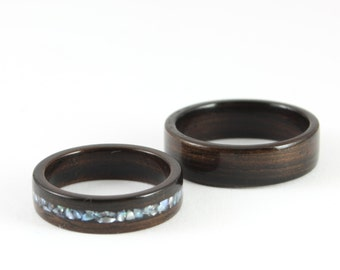 Wooden Wedding Ring Set - Ebony Wooden Ring With Crushed Pearl Inlay And Classic Wooden Wedding Ring