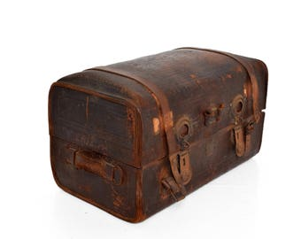 Antique Travel Leather Trunk Suitcase