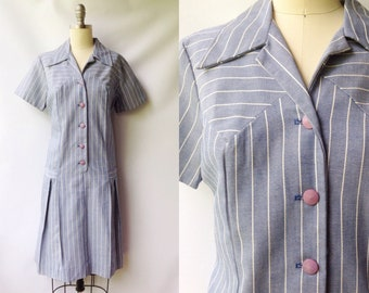 1960s Blue and White Pinstripe Dropped Waist Day Dress | Vintage 60s does 20s Chambray Button Down Dress | 1920s Inspired Flapper Dress