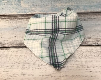 Bibdana - plaid baby bib - baby bandana bib - boy bibs - flannel baby fabric bib - scarf bib - binky clip bib - pacifier holder bib - bibs