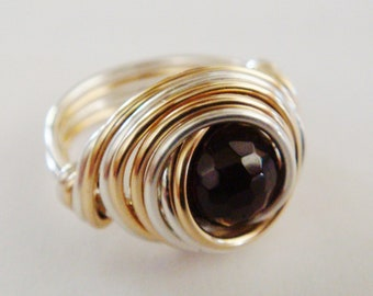 Garnet Ring   Garnet Sterling Silver and 14K Gold Filled Ring   Wire Wrapped Ring   Red Garnet Ring   January Birthday