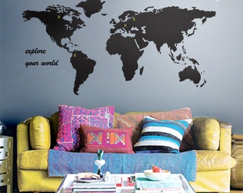 Map wall decal etsy world map wall decal gumiabroncs Gallery
