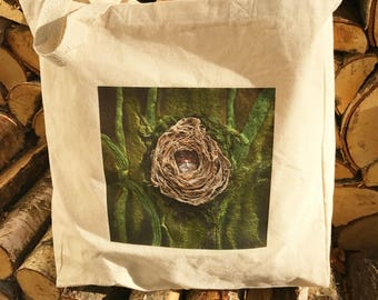 Tote Bag from original textile artwork NESTING MOUSE