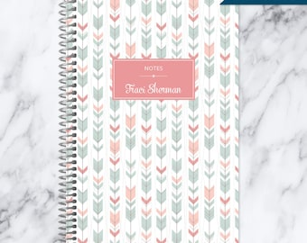 NOTEBOOK personalized journal | lined notebook | personalized gift | stocking stuffer | spiral bound notebook | pink and green tribal arrows