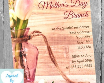 Mother's Day Brunch Invitation, Mother's Day Invitation, Mother's Day Lunch Invitation, INSTANT DOWNLOAD, Editable Invitation to personalize