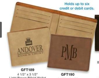 Laserable Leatherette Bifold Wallet, custom engraved wallet, personalized wallet, monogrammed wallet, custom logo wallet, business logo
