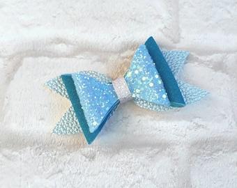 Blue glitter bow, hair clip, Hair bow, Handmade hair bow, Blue hair bow, Child's hair accessory