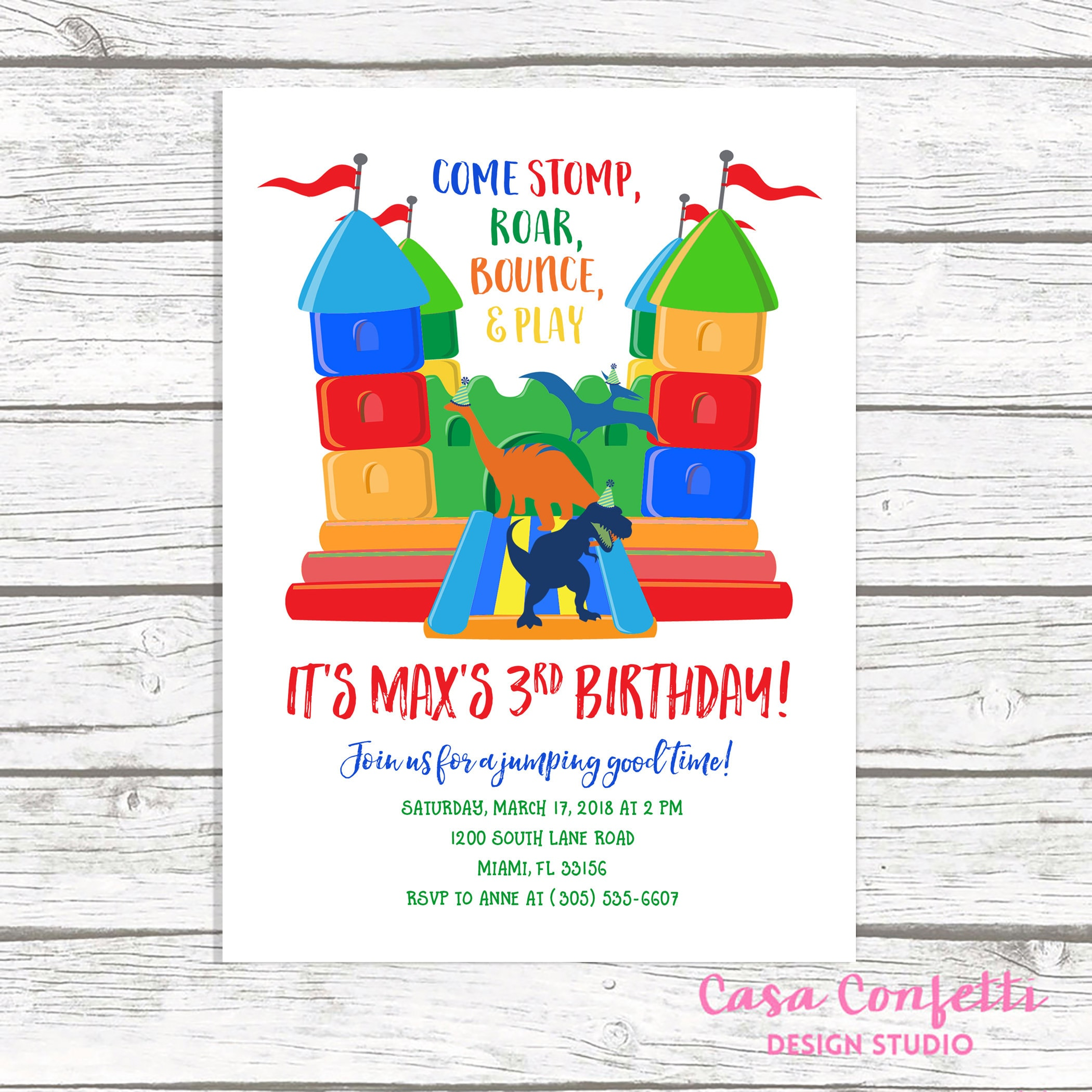 Dinosaur Bounce House Birthday Invitation, Bounce House Invitation ...