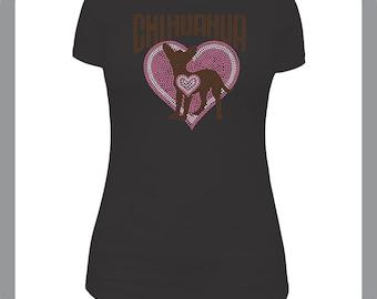 Beautiful Chihuahua rhinestone T-Shirt
