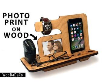 Anniversary Gift, for Men, Wood organizer, Docking station, Desk organizer, Phone holder, Wooden phone stand, Gift for him, man gift,