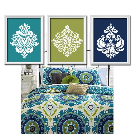 Bedroom Artwork Prints: Teal Navy Wall Art Bedroom Pictures CANVAS Or Prints