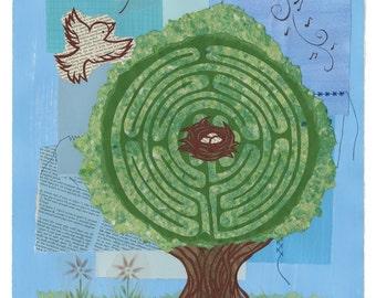 She's Nurturing a Dream, giclee labyrinth print