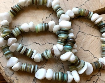 white jade and abalone bracelet