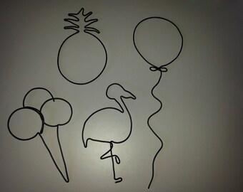 Decorative wire metal: ball, Flamingo, ice, pineapple