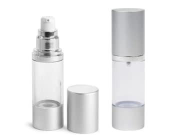 MagnaKoys Clear Empty 1 oz AS Airless Pump Bottles w/ Silver Pumps & Caps for lotions and gels Dispenser (2 Pack)