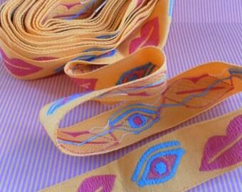 Vintage Eye lips woven retro sewing trim tape yellow pink aqua sewing supply edge trim
