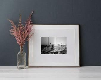 Postcard: Inbetween ------ photography - art print - black and white - beach - mist - fog - silence - melancholy - tranquility - stillness