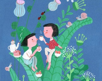 little secrets   Original Illustration , home decor, wall decor, wall art, Valentine's Day gifts