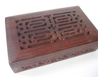 Vintage Wood Box with Cut Outs on Lid