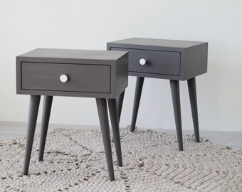 Gray Mid-century nightstand | Bedside Table with drawer | Mid-century Modern Furniture | Scandinavian | Bedroom furniture  NO-02-EP