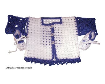 Vest/pullover/sweater/knit/overcoat polka blue squares crocheted baby