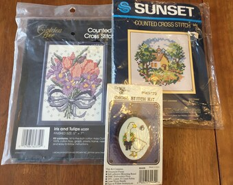3 Vintage Cross Stitch Kits / 1980s counted cross-stitch / 948 chapel in the woods 30439 goose 60359 iris and tulips / complete craft kits