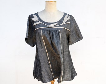 silver shine linen blouse grey tunic by ZOJKA S M size unique fashion design natural pragnancy eco wearable art organic art to wear hemp 176