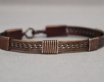 Copper Antiqued Bangle Bracelet (6 wire)